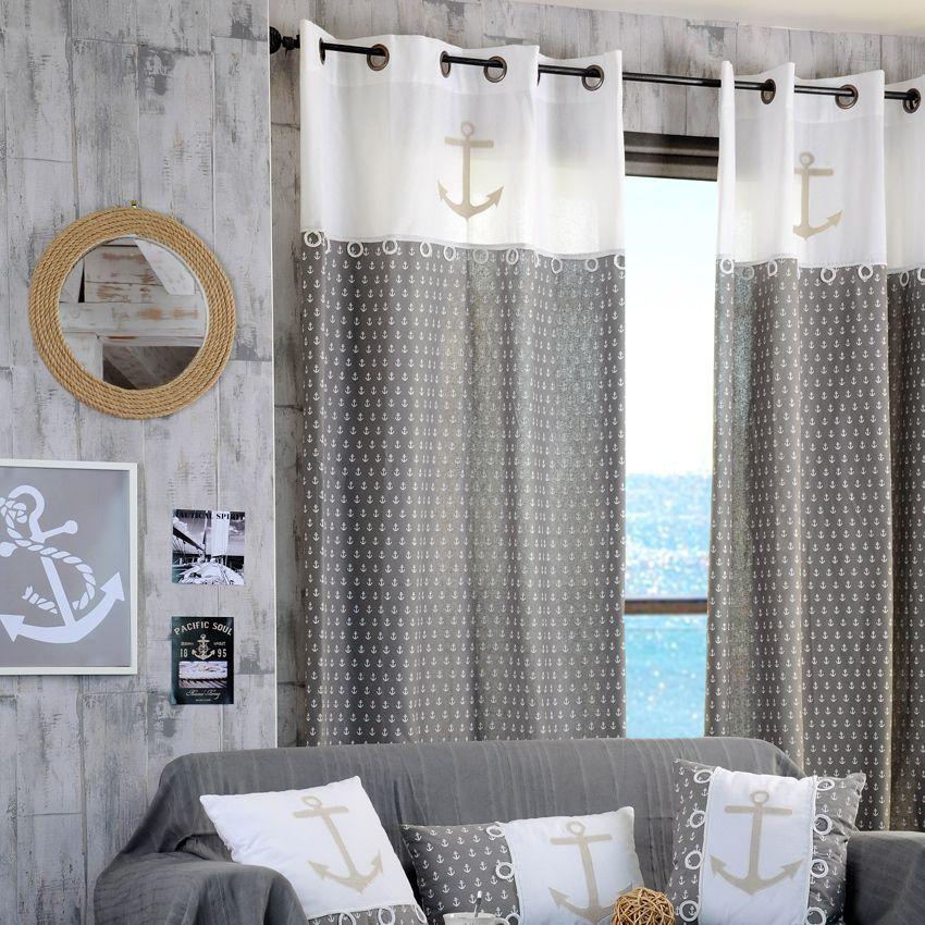 rideau tamisant 135 x h260 cm embrun gris rideau tamisant eminza. Black Bedroom Furniture Sets. Home Design Ideas