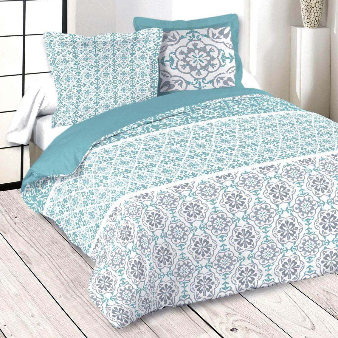 parure de draps 4 pi ces lisboa bleu parure de draps. Black Bedroom Furniture Sets. Home Design Ideas