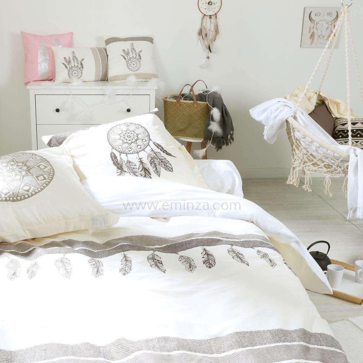 housse de couette et deux taies 260 cm apache ecru. Black Bedroom Furniture Sets. Home Design Ideas