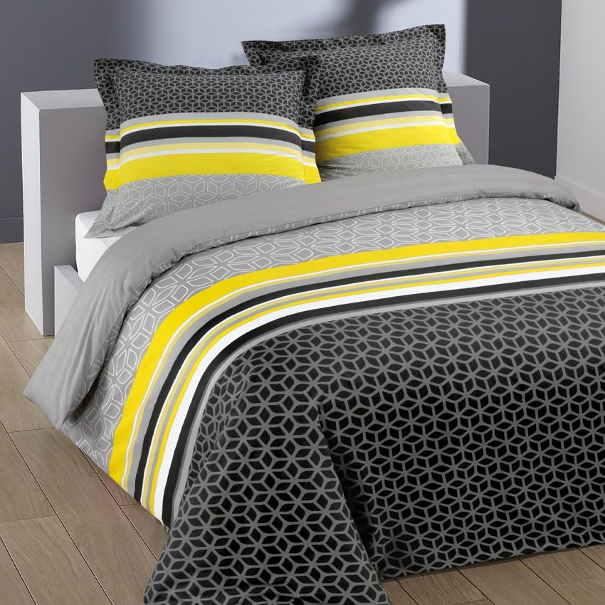 housse de couette et deux taies 240 cm lisa yellow. Black Bedroom Furniture Sets. Home Design Ideas