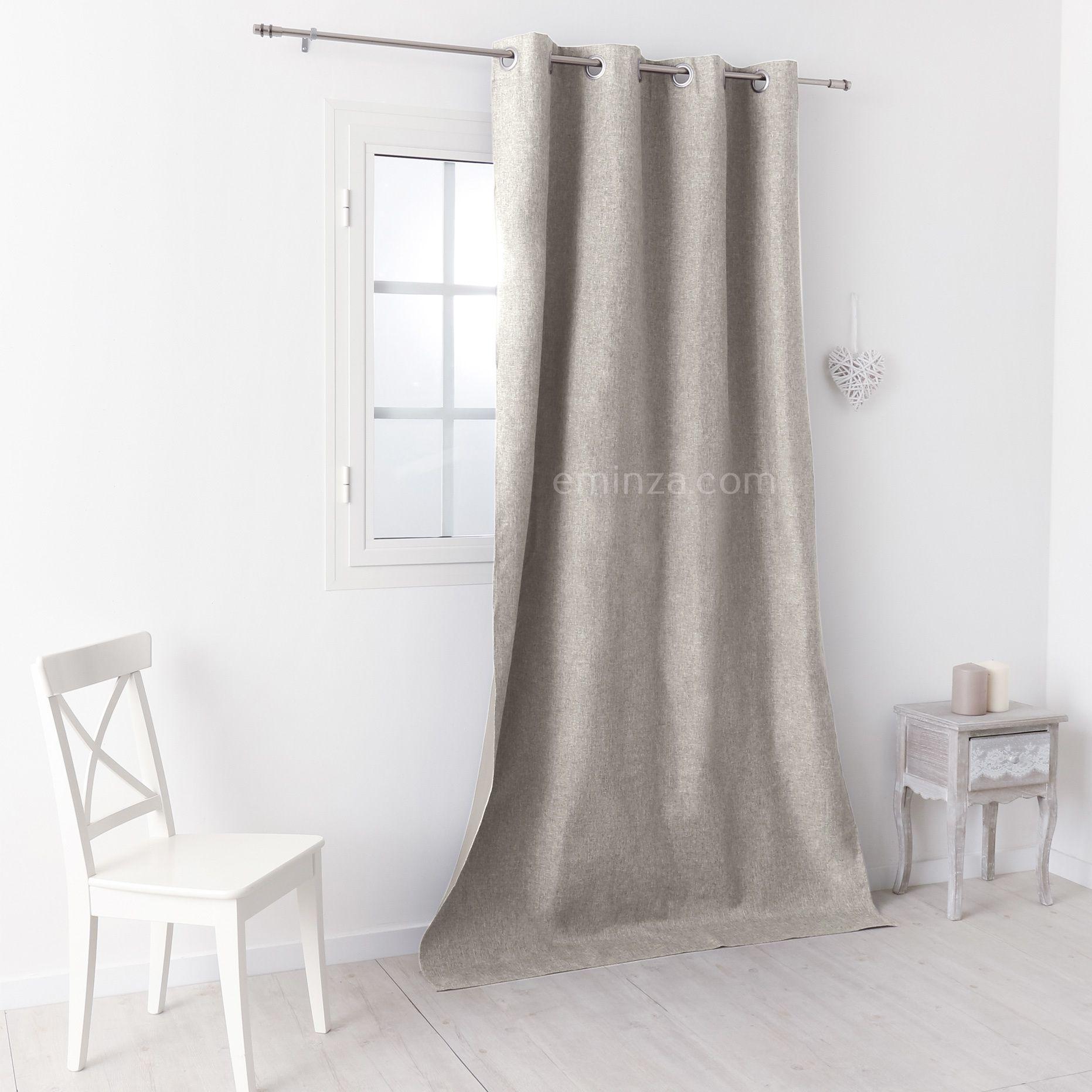 rideau occultant 140 x 260 cm faux uni lin rideau occultant eminza. Black Bedroom Furniture Sets. Home Design Ideas