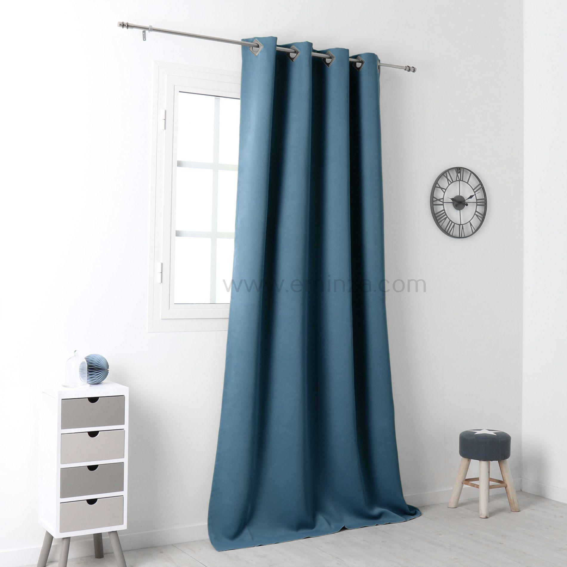 rideau occultant 140 x 250 cm drake bleu rideau occultant eminza. Black Bedroom Furniture Sets. Home Design Ideas