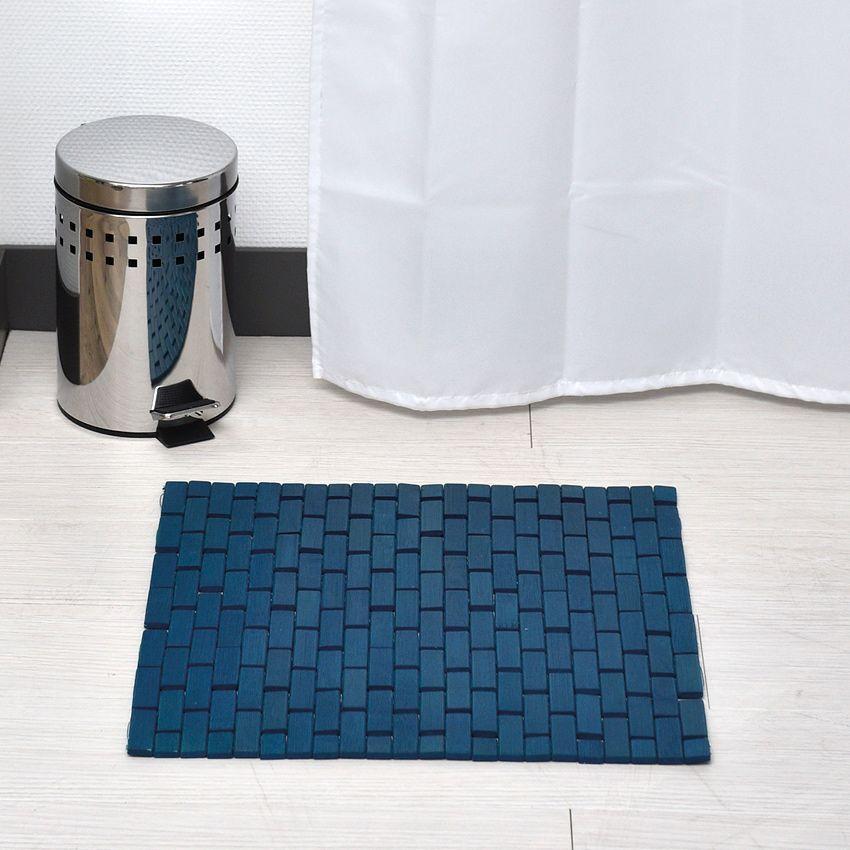 Tapis de bain caillebotis bambou bleu tapis salle de for Tapis bambou salle de bain