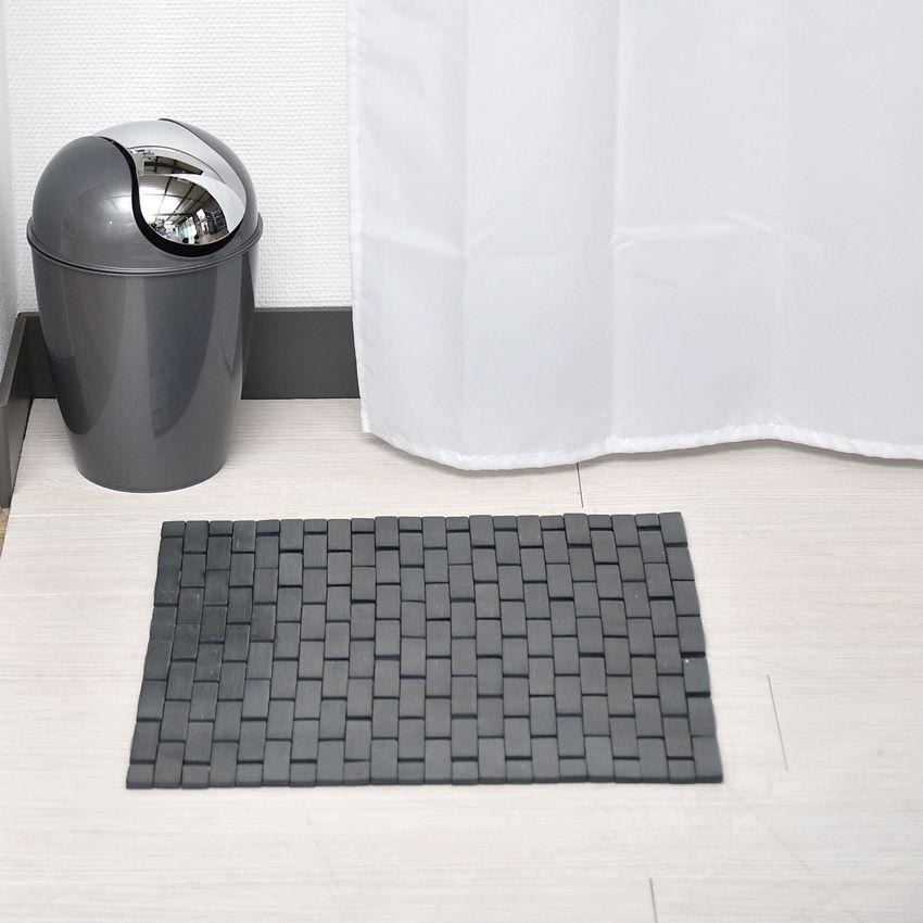 tapis de bain caillebotis bambou gris fonc tapis salle de bain eminza. Black Bedroom Furniture Sets. Home Design Ideas