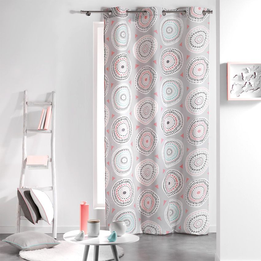 rideau tamisant 140 x 240 cm disco rose et menthe rideau tamisant eminza. Black Bedroom Furniture Sets. Home Design Ideas