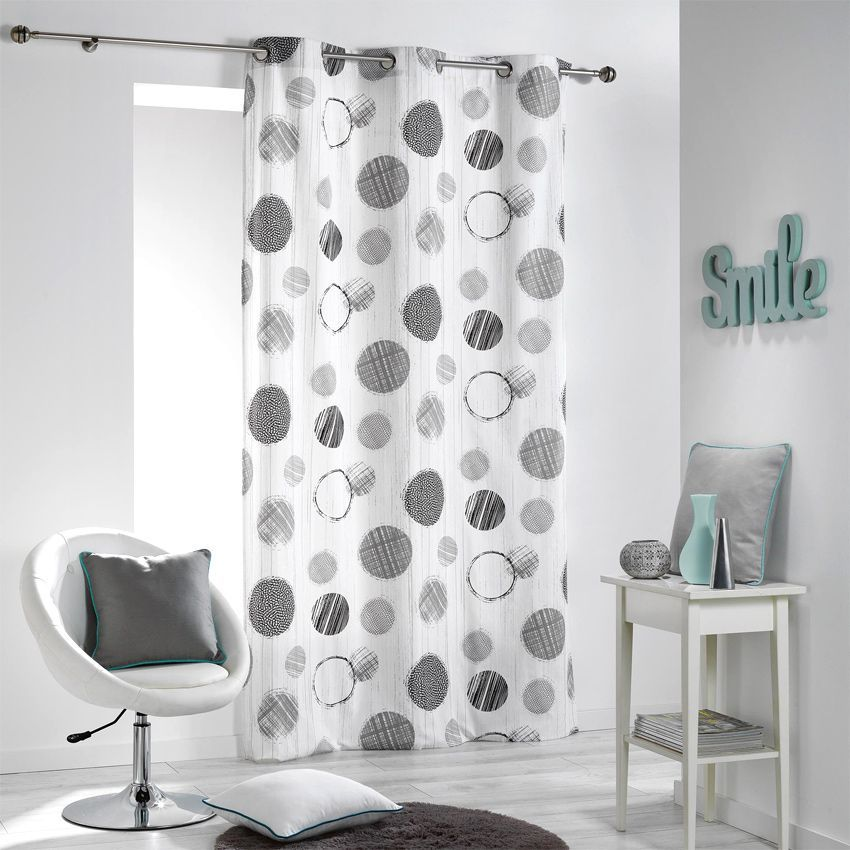 rideau tamisant 140 cm x 280 cm romy gris rideau tamisant eminza. Black Bedroom Furniture Sets. Home Design Ideas