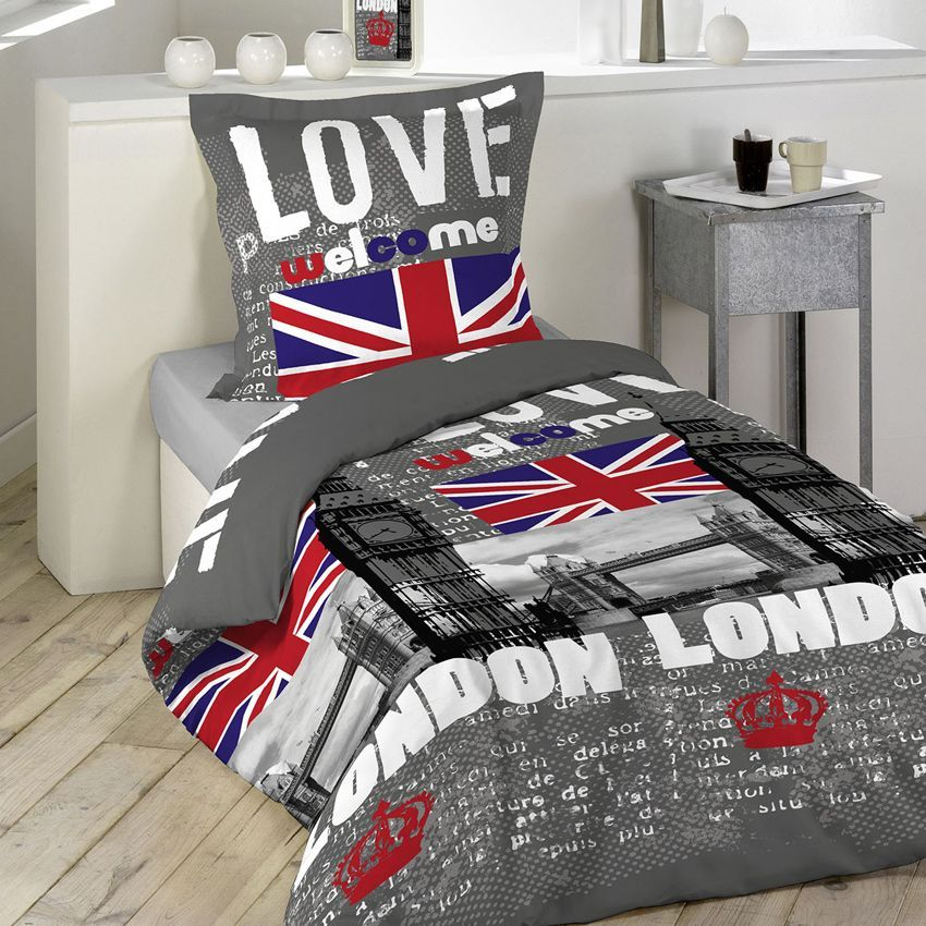 housse de couette et une taie 140 cm london love housse de couette eminza. Black Bedroom Furniture Sets. Home Design Ideas