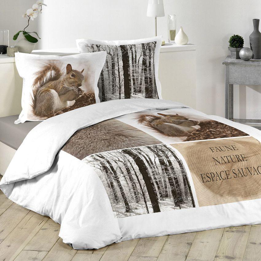 housse de couette et deux taies 200 cm ecureuil housse. Black Bedroom Furniture Sets. Home Design Ideas