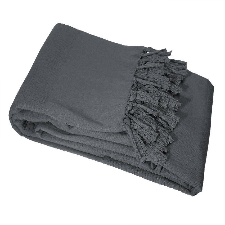 Jet de canap 220 cm lana anthracite jet de canap for Plaid et jete de canape