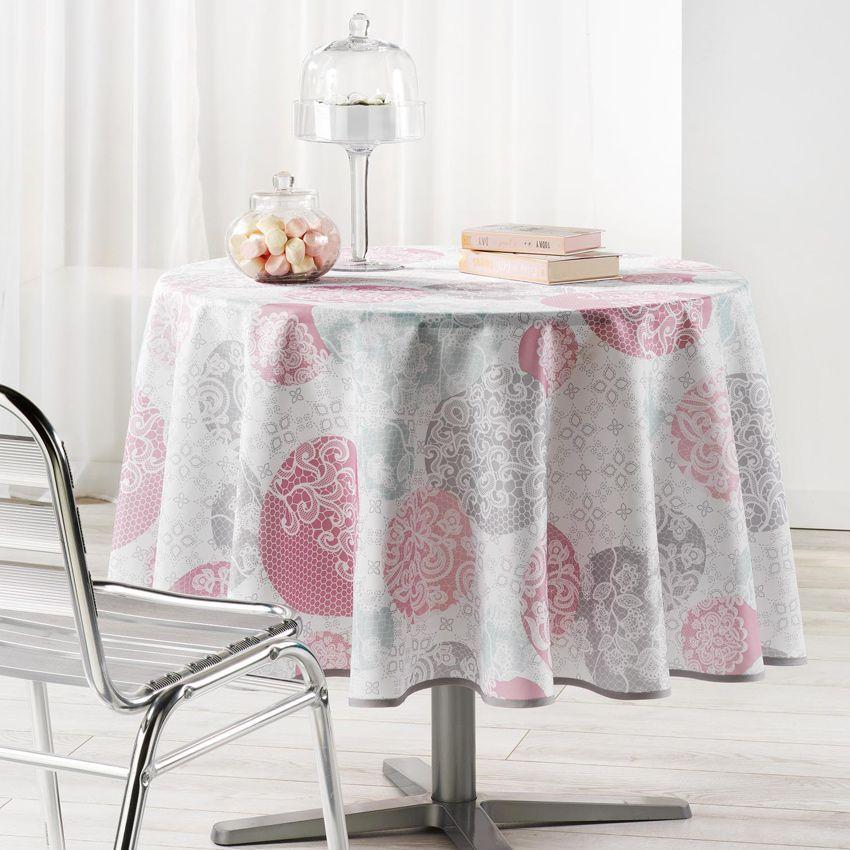 nappe ronde d180 cm barbara poudre nappe de table eminza. Black Bedroom Furniture Sets. Home Design Ideas