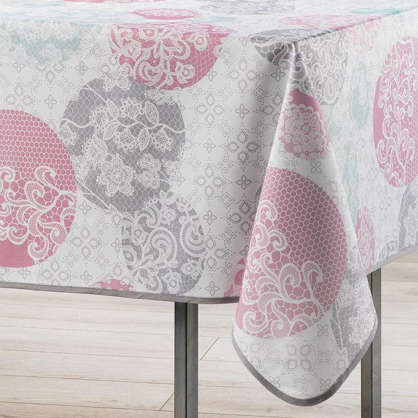 Nappe l240 cm barbara poudre nappe de table eminza - Nappe rose poudre ...