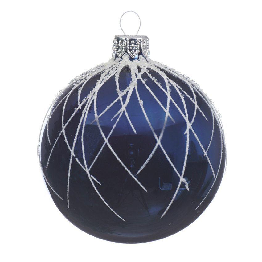 lot de 6 boules de no l d80 mm lega bleu nuit boule de no l eminza. Black Bedroom Furniture Sets. Home Design Ideas