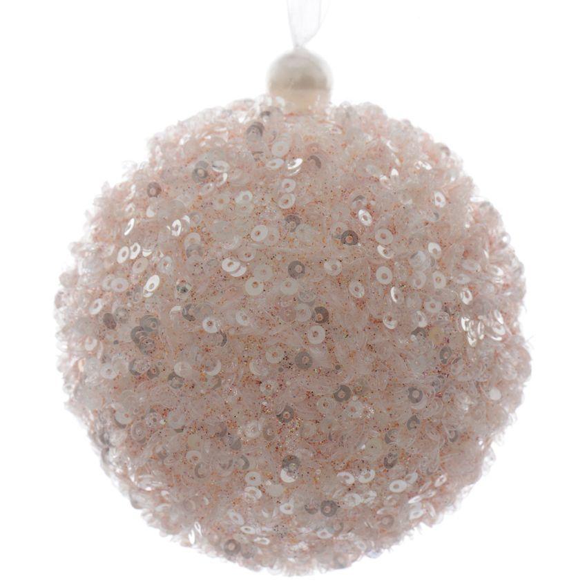 lot de 12 boules de no l d80 mm fun rose poudr boule de no l eminza. Black Bedroom Furniture Sets. Home Design Ideas