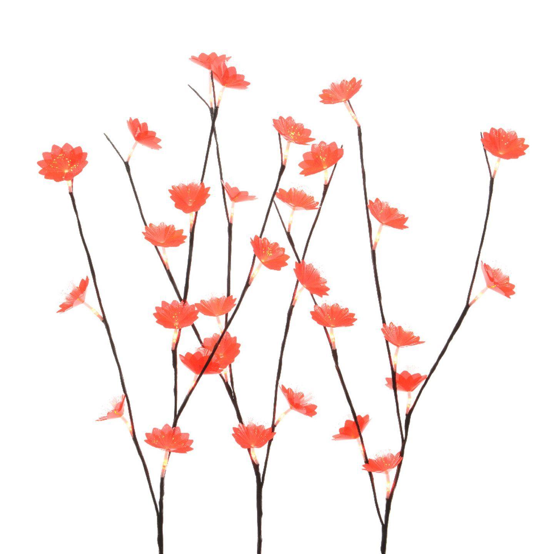 lot de 3 branches lumineuses anth mis rouge fleur et branche d 39 hiver eminza. Black Bedroom Furniture Sets. Home Design Ideas