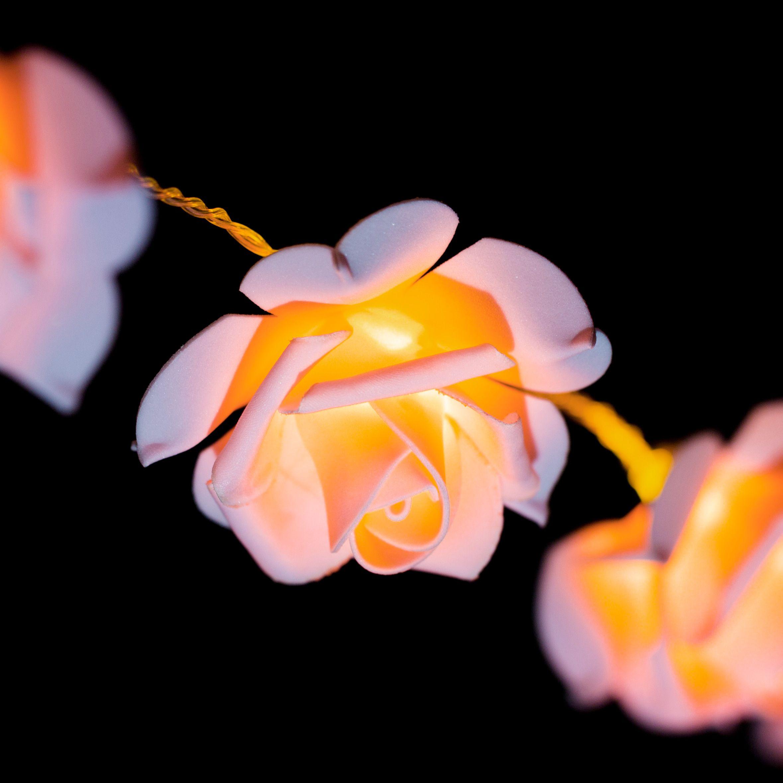 guirlande lumineuse rose blanc chaud 15 led guirlande lumineuse eminza. Black Bedroom Furniture Sets. Home Design Ideas