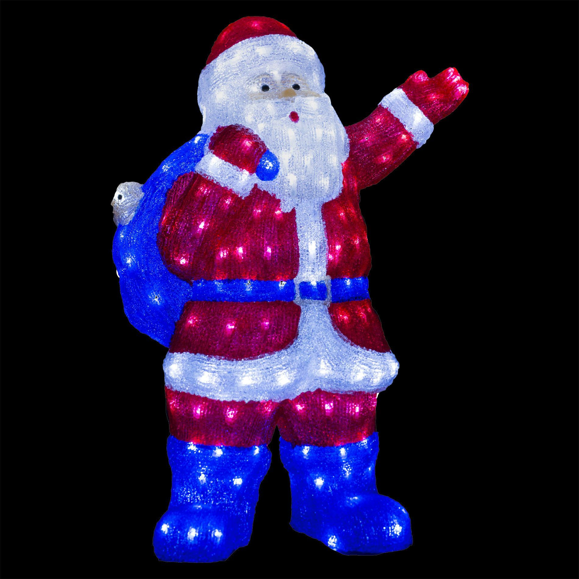 P re no l lumineux gaston blanc froid 240 led silhouette for Pere noel decoration exterieur