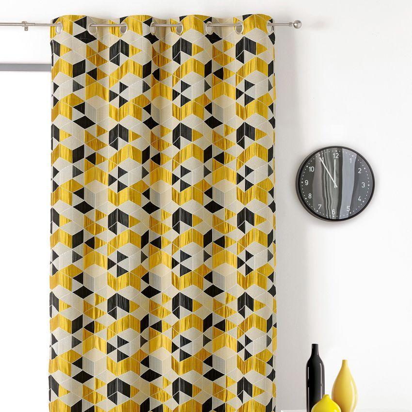 rideau tamisant 135 x 250 cm arletty jaune rideau tamisant eminza. Black Bedroom Furniture Sets. Home Design Ideas