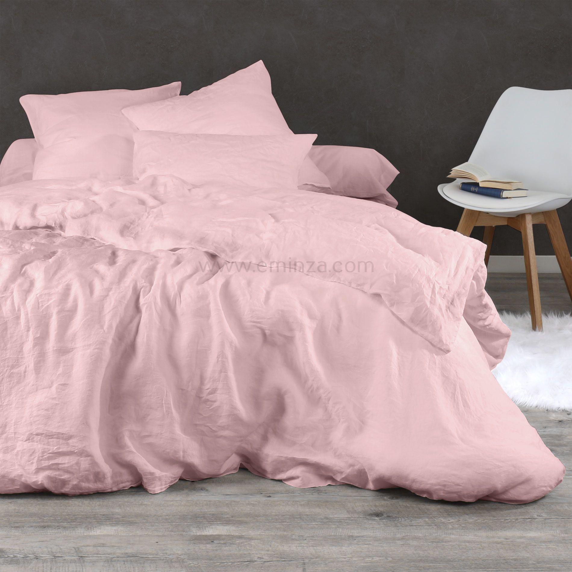 taie d 39 oreiller rectangulaire lin lav pure rose taie d 39 oreiller traversin eminza. Black Bedroom Furniture Sets. Home Design Ideas