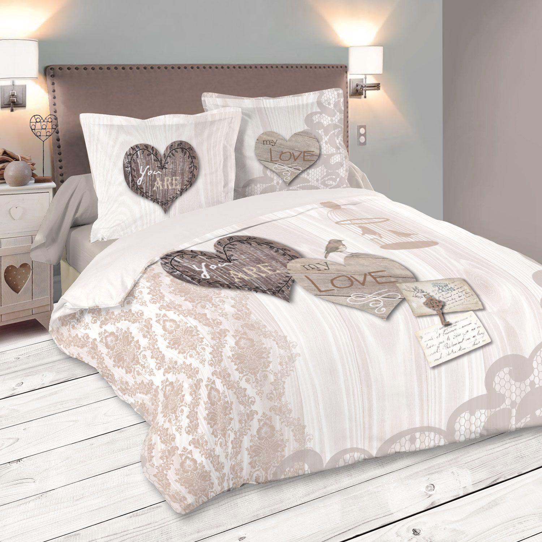 housse de couette et deux taies bonheur 100 coton 240 cm ecru housse de couette eminza. Black Bedroom Furniture Sets. Home Design Ideas