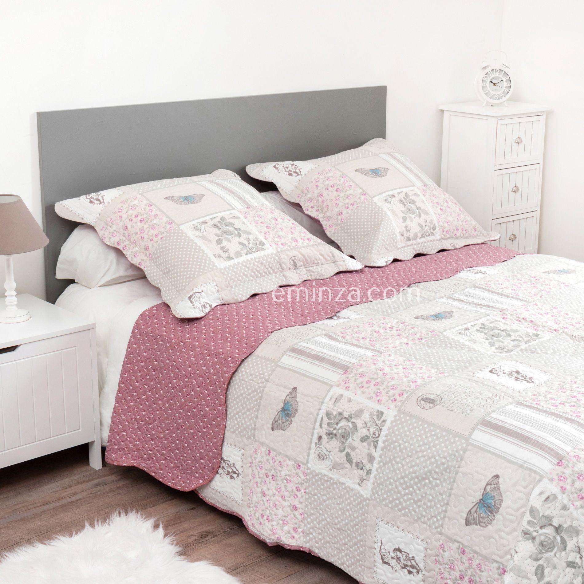 boutis et taies d 39 oreiller 240 x 220 cm anela rose couvre lit boutis eminza. Black Bedroom Furniture Sets. Home Design Ideas