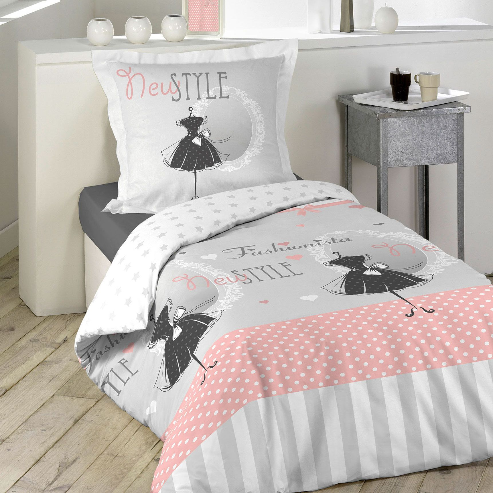 housse de couette et taie couture 100 coton 140 cm rose. Black Bedroom Furniture Sets. Home Design Ideas
