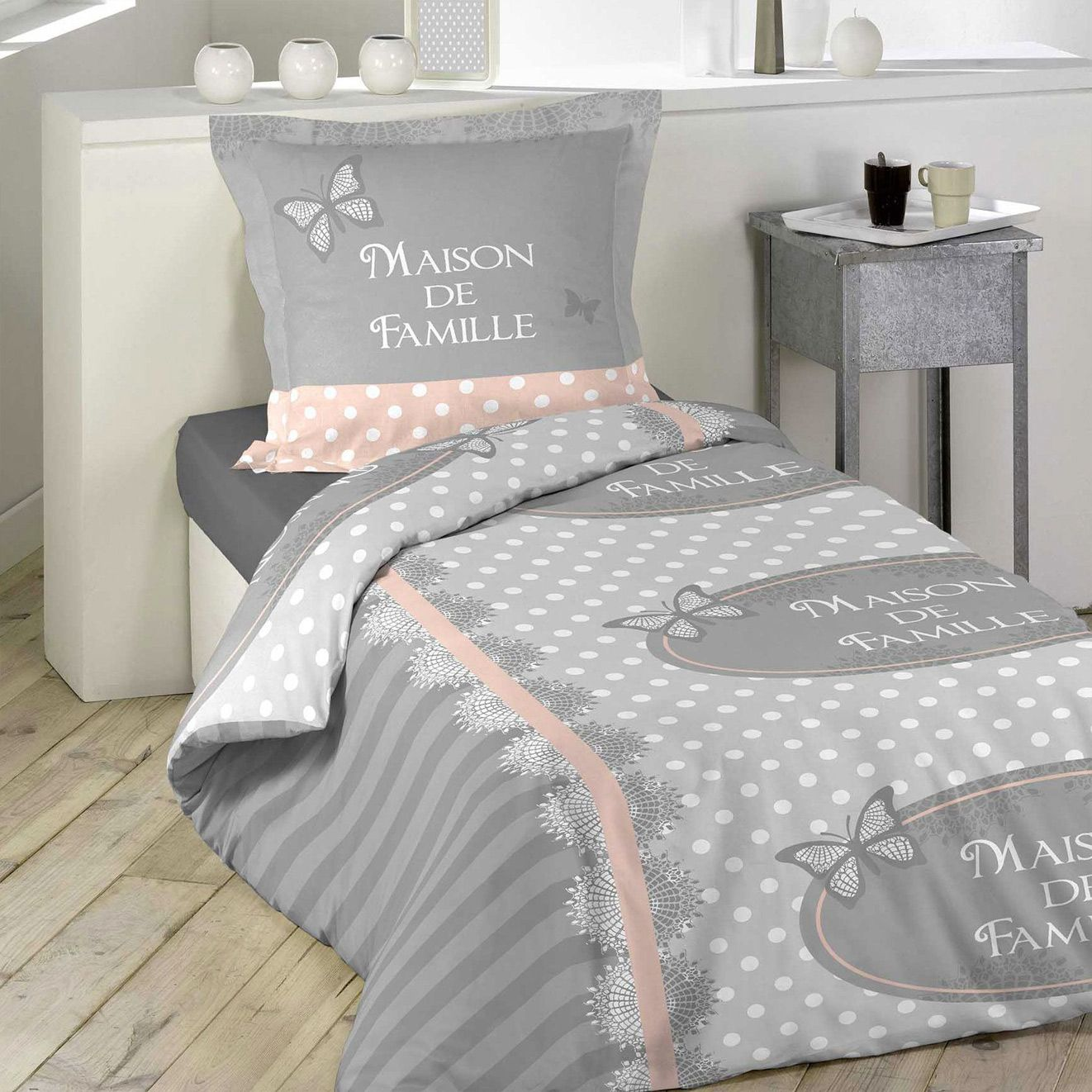 housse de couette et taie lili 100 coton 140 cm gris housse de couette eminza. Black Bedroom Furniture Sets. Home Design Ideas