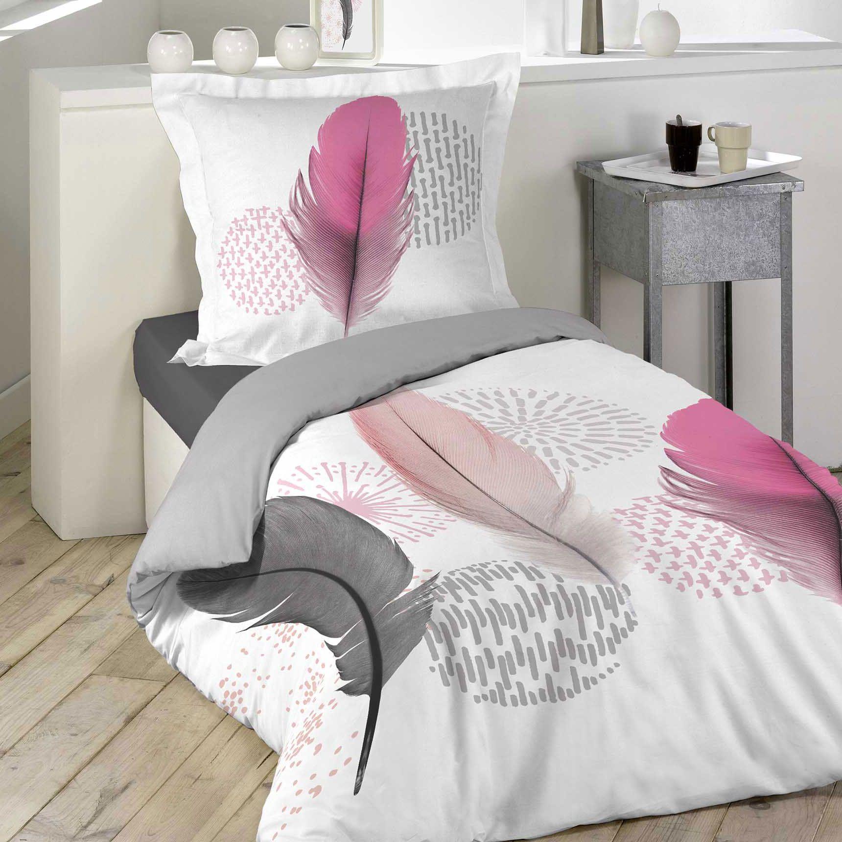 Housse de couette et taie pink dream 100 coton 140 cm for Housse de couette rose et gris
