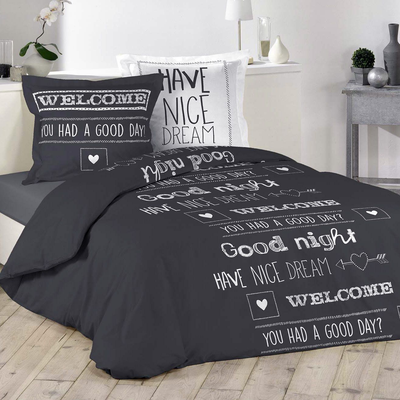 housse de couette et deux taies nice dream coton 240 cm gris anthracite housse de couette. Black Bedroom Furniture Sets. Home Design Ideas