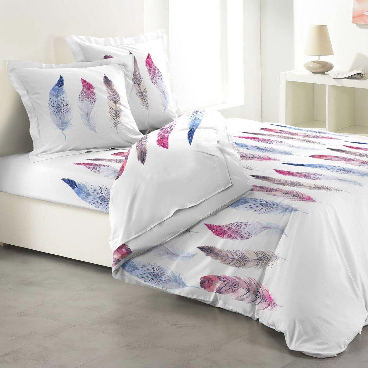 parure de draps 4 pi ces 100 flanelle dakota blanc parure de draps eminza. Black Bedroom Furniture Sets. Home Design Ideas