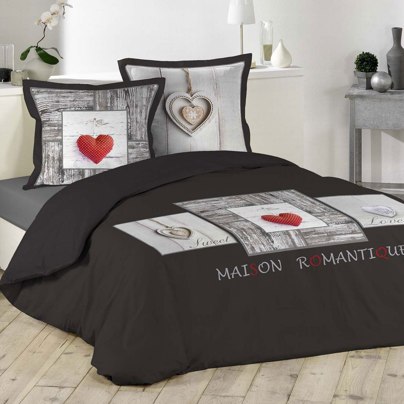 housse de couette et deux taies romantique 100 coton 260 cm gris anthracite housse de. Black Bedroom Furniture Sets. Home Design Ideas
