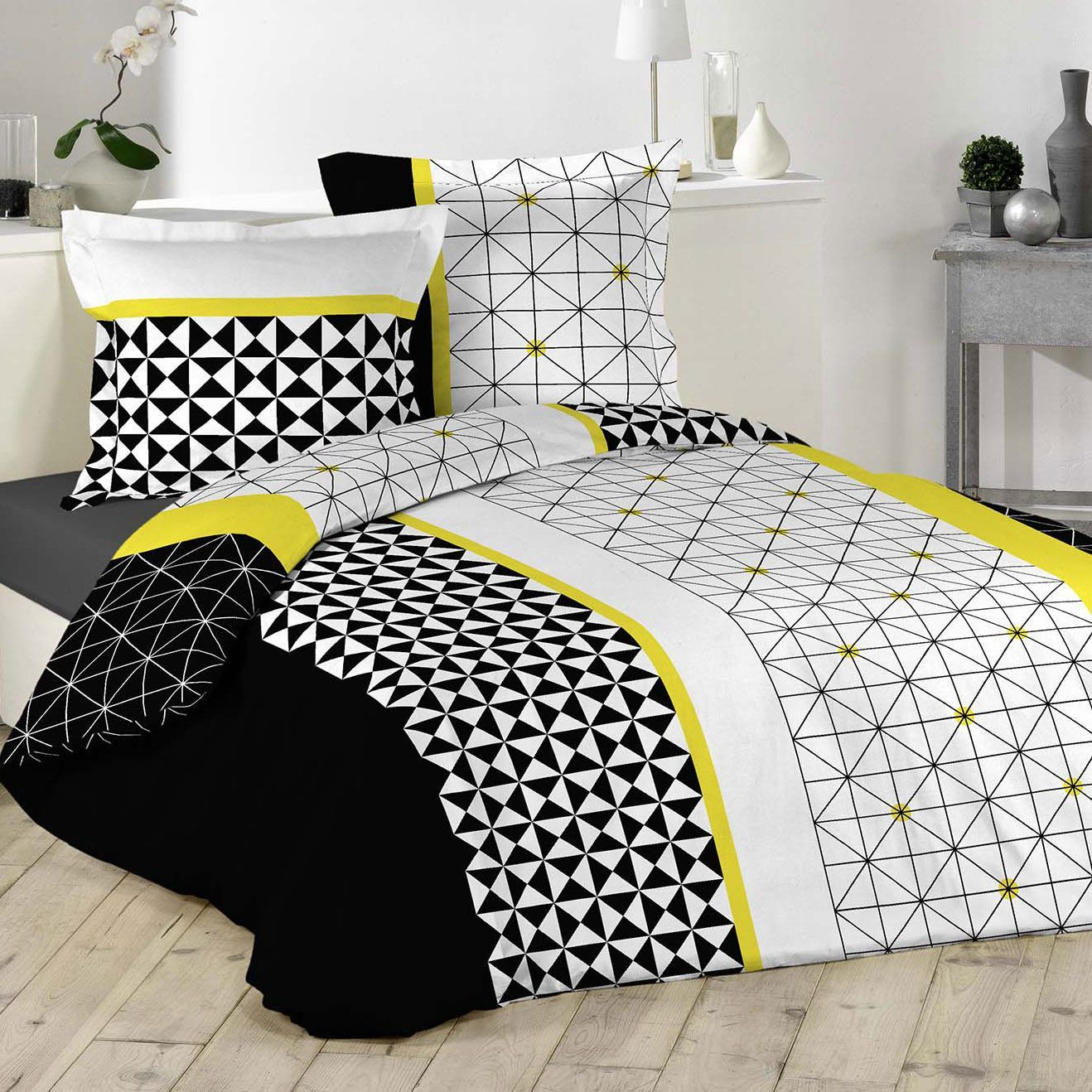 housse de couette et deux taies yellometric 100 coton 260 cm jaune housse de couette eminza. Black Bedroom Furniture Sets. Home Design Ideas