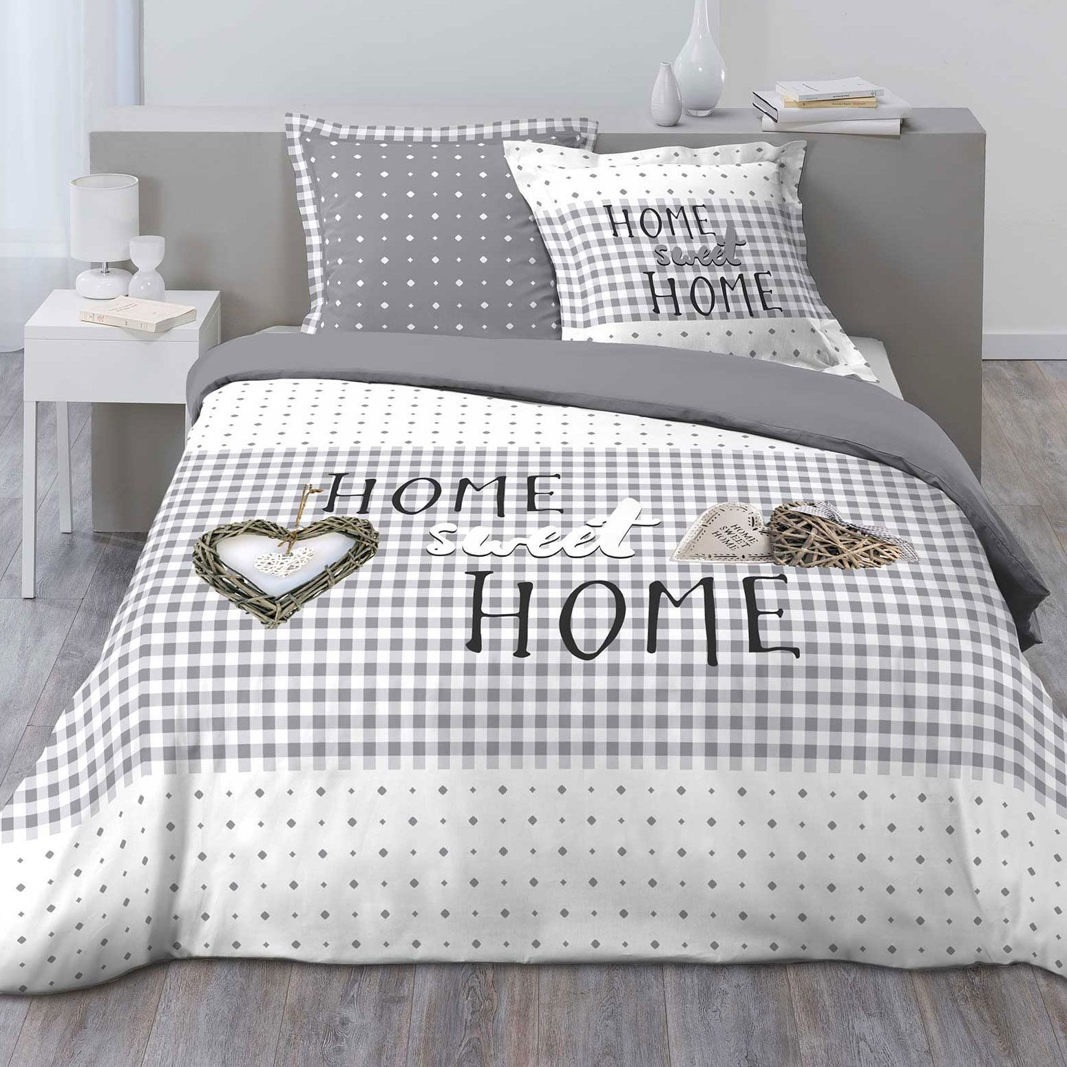 housse de couette et deux taies 100 flanelle de coton 260 cm sweet vichy gris housse de. Black Bedroom Furniture Sets. Home Design Ideas