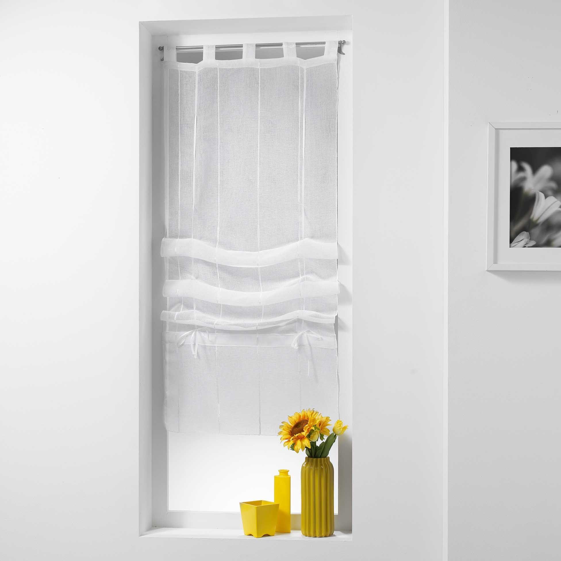 store voilage droit 45 x 180 cm linahe blanc voilage eminza. Black Bedroom Furniture Sets. Home Design Ideas