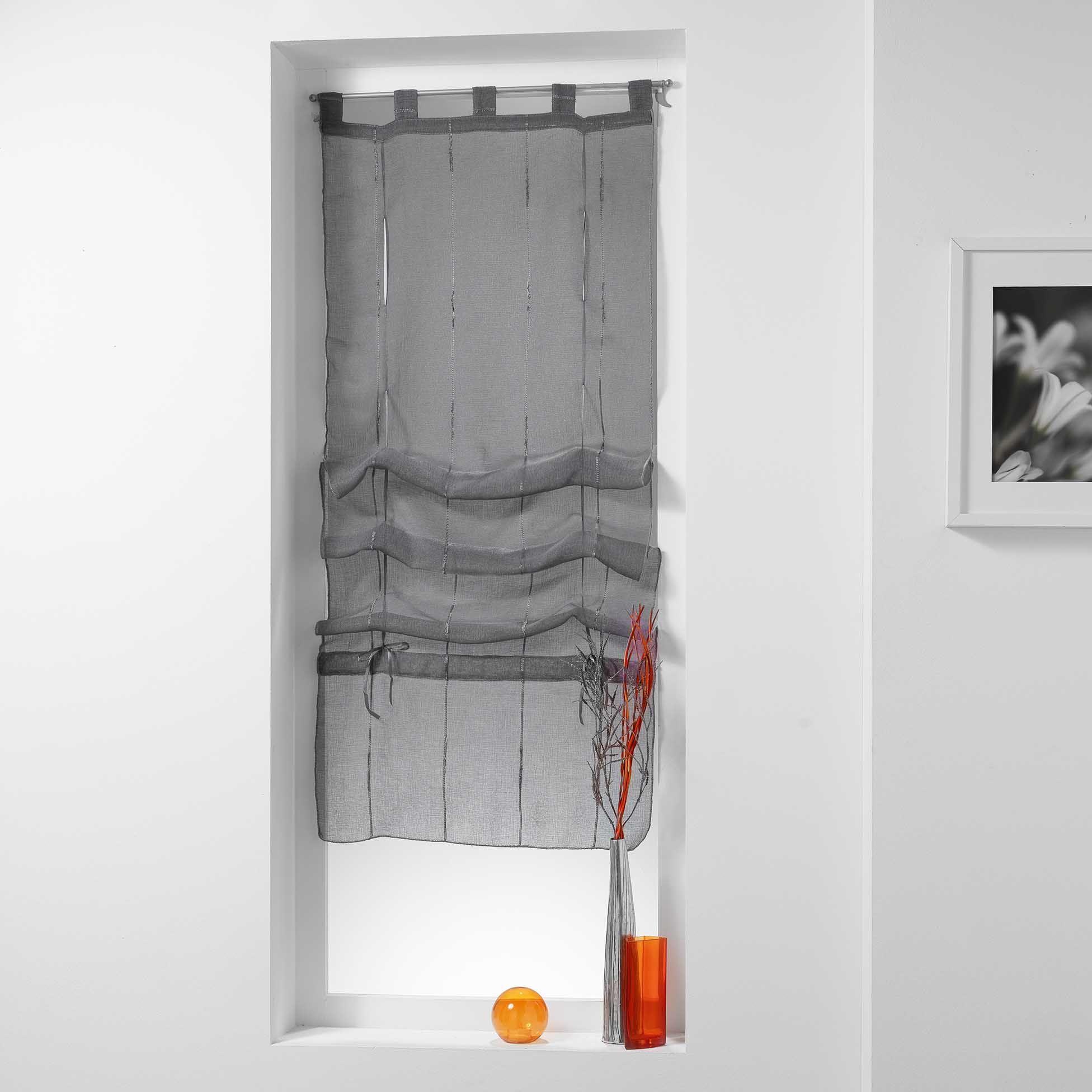 store voilage 60 x 180 cm linahe gris anthracite voilage eminza. Black Bedroom Furniture Sets. Home Design Ideas