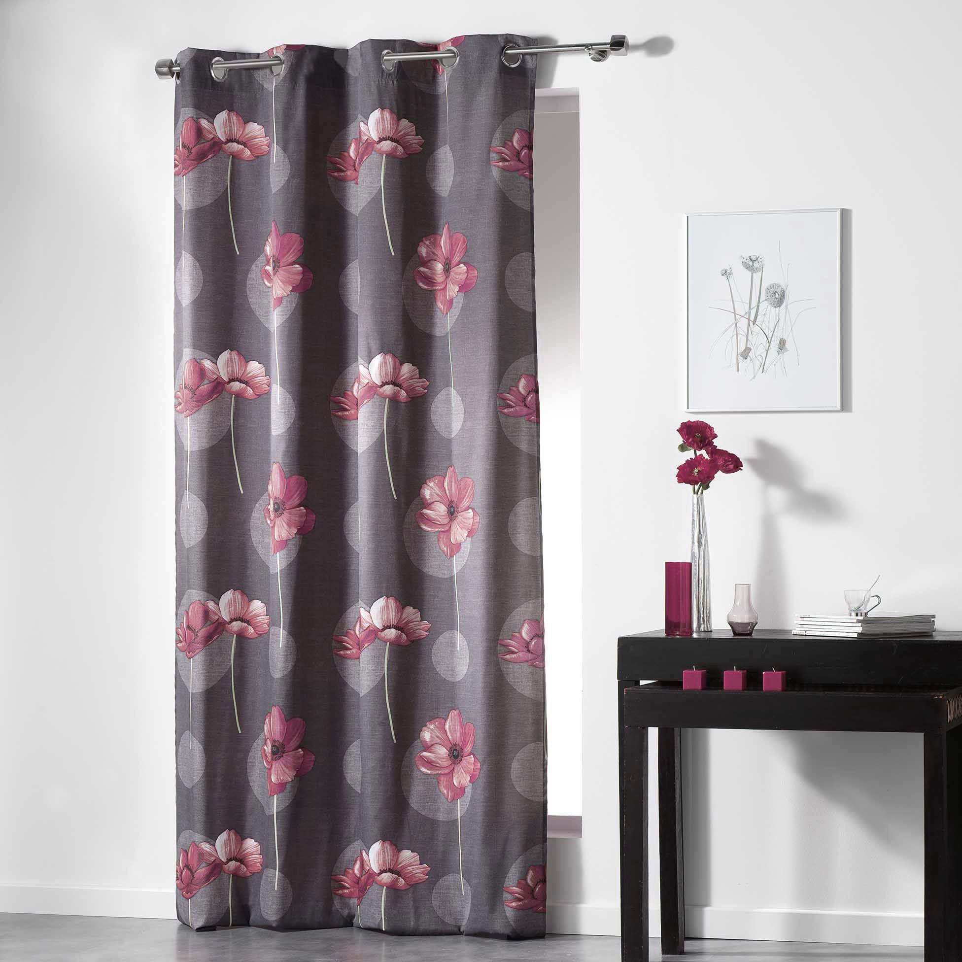 rideau tamisant 140 x 240 cm clematis rouge rideau tamisant eminza. Black Bedroom Furniture Sets. Home Design Ideas