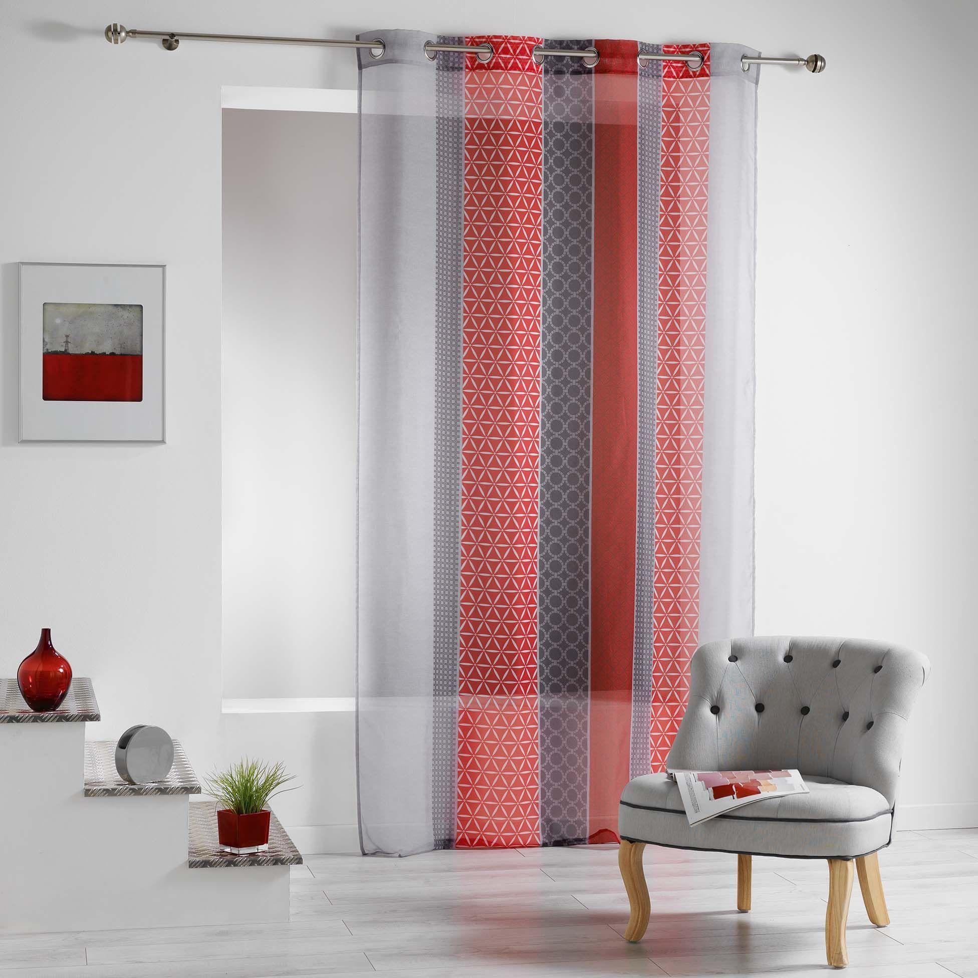 voilage rouge et gris. Black Bedroom Furniture Sets. Home Design Ideas