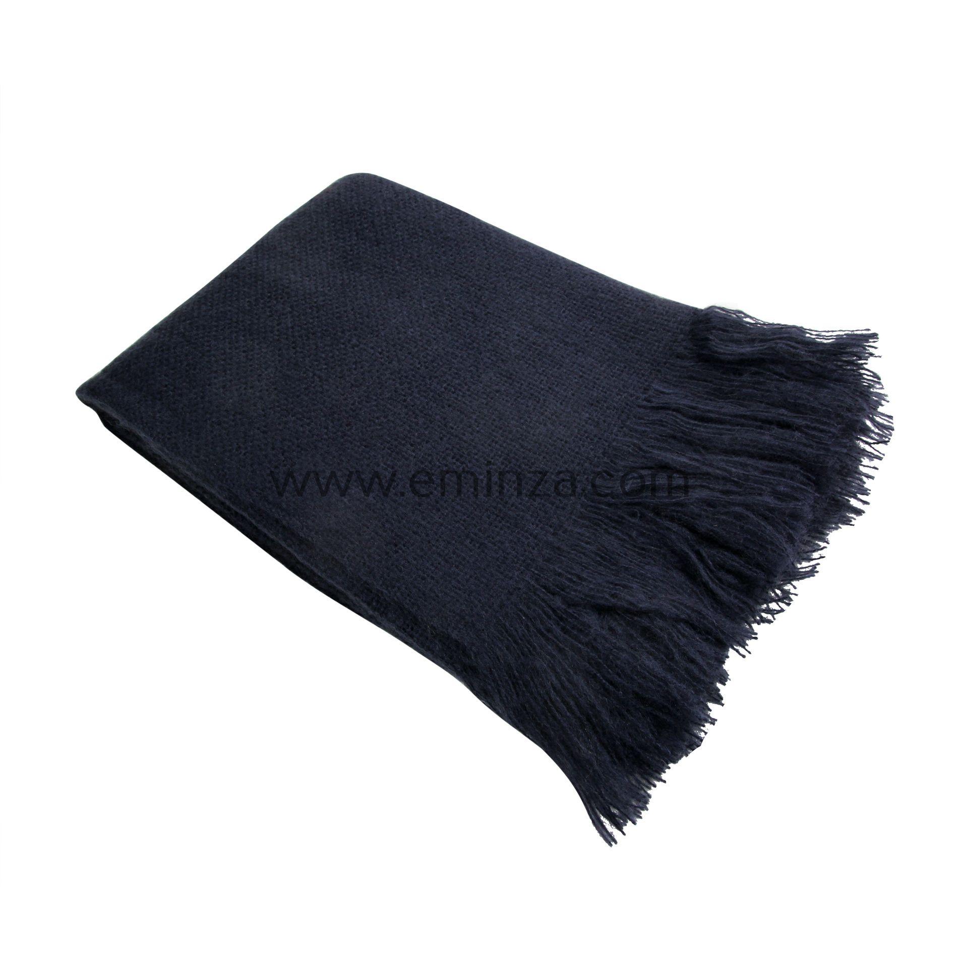 plaid doux 150 cm shelly bleu marine plaid cocooning eminza. Black Bedroom Furniture Sets. Home Design Ideas