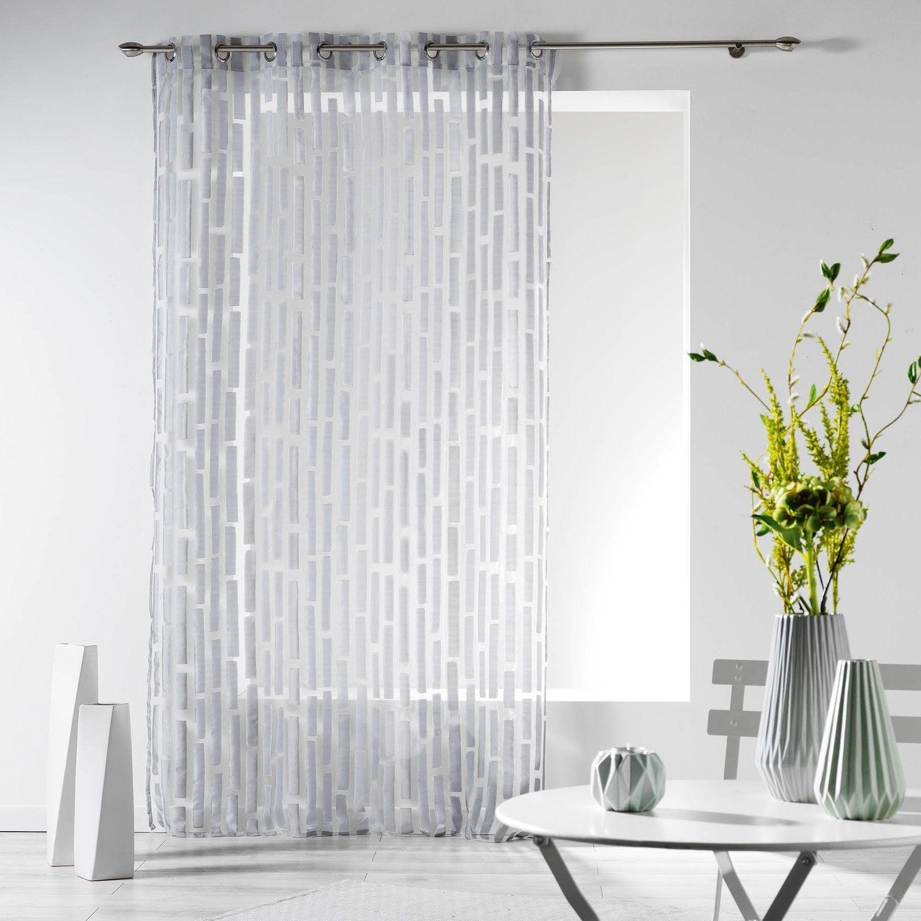 Rideau tamisant 140 x 240 cm organza elytis gris - Maison elytis ...