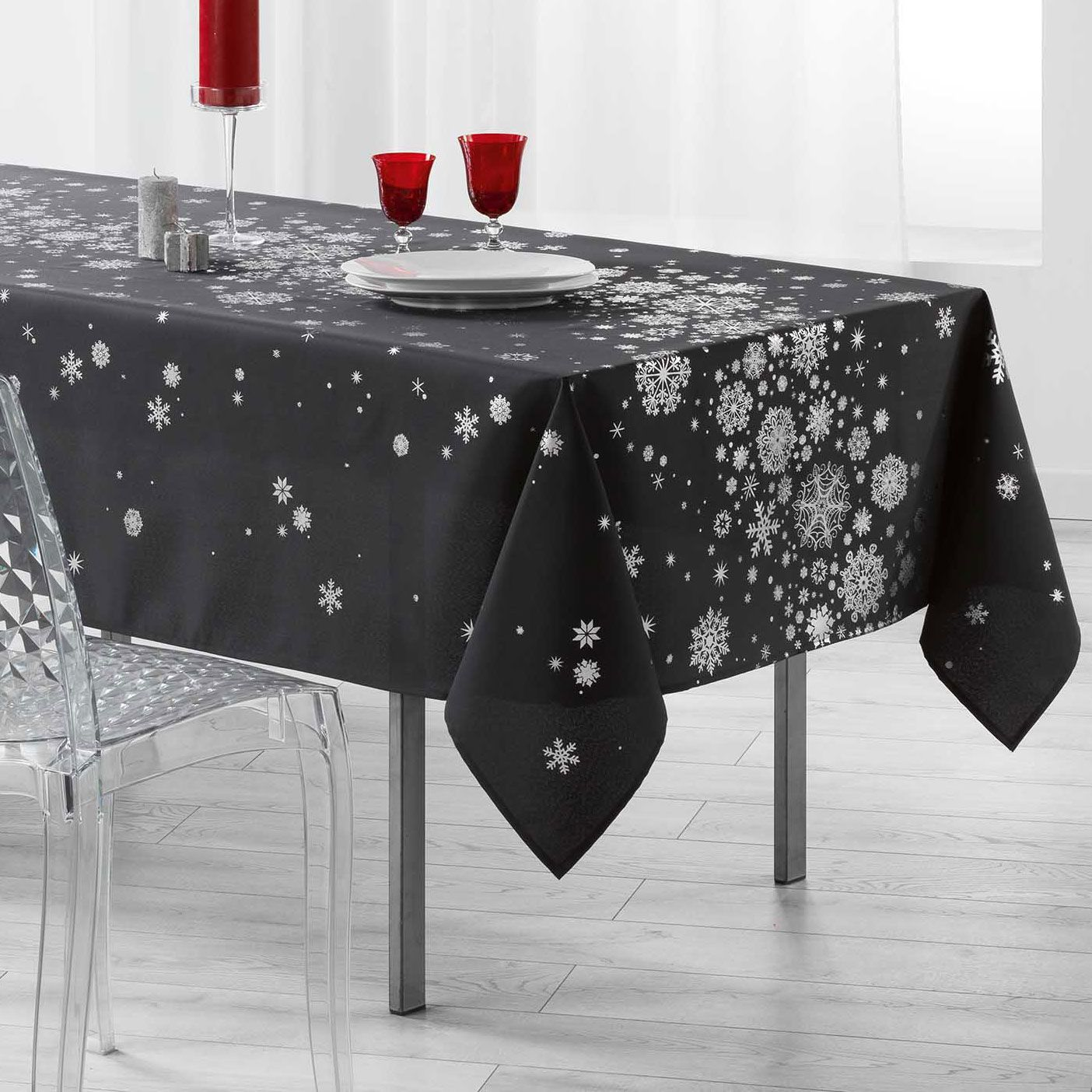 nappe rectangulaire 240 cm constellation gris anthracite linge de table eminza. Black Bedroom Furniture Sets. Home Design Ideas