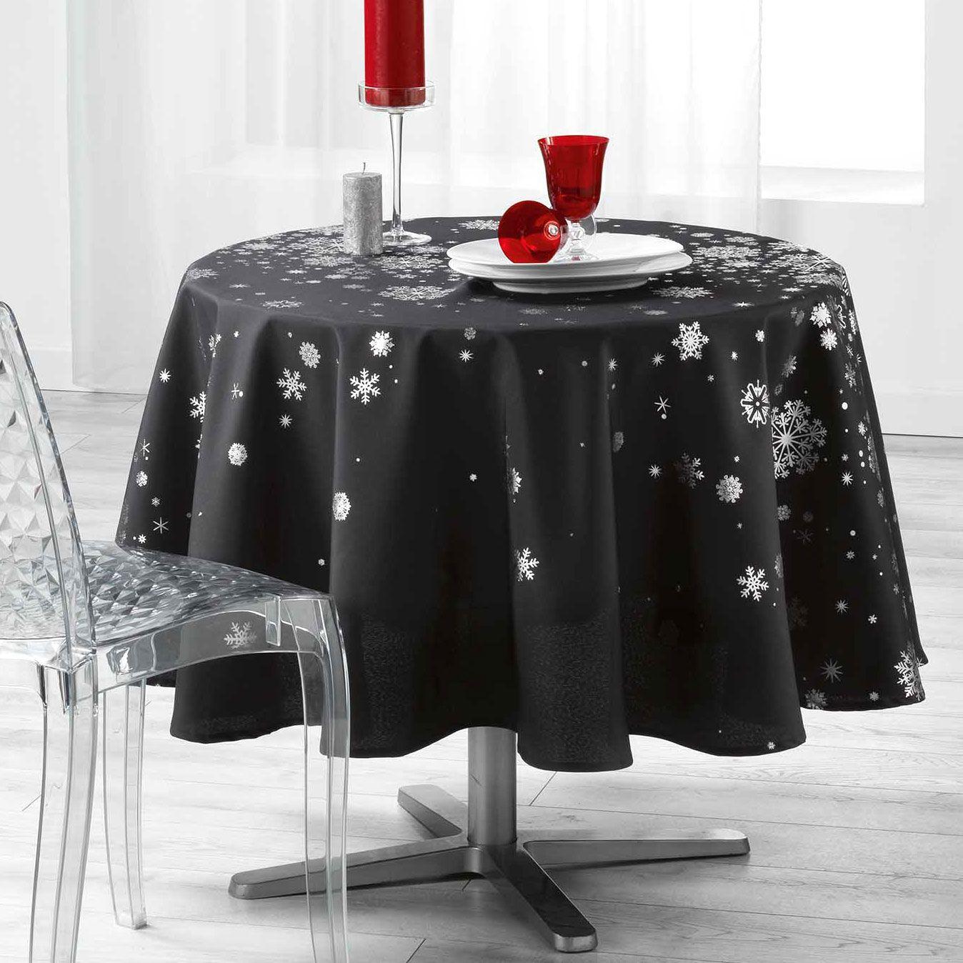 nappe ronde 180 cm constellation gris anthracite linge de table eminza. Black Bedroom Furniture Sets. Home Design Ideas