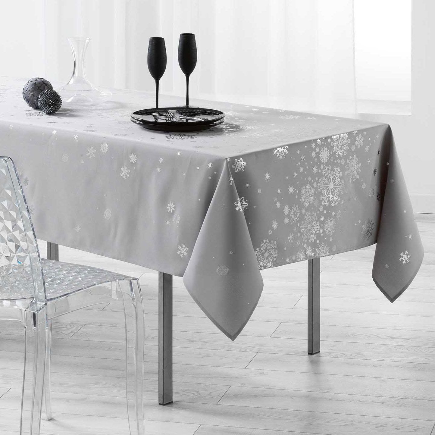 nappe rectangulaire l300 cm constellation gris linge de table eminza. Black Bedroom Furniture Sets. Home Design Ideas
