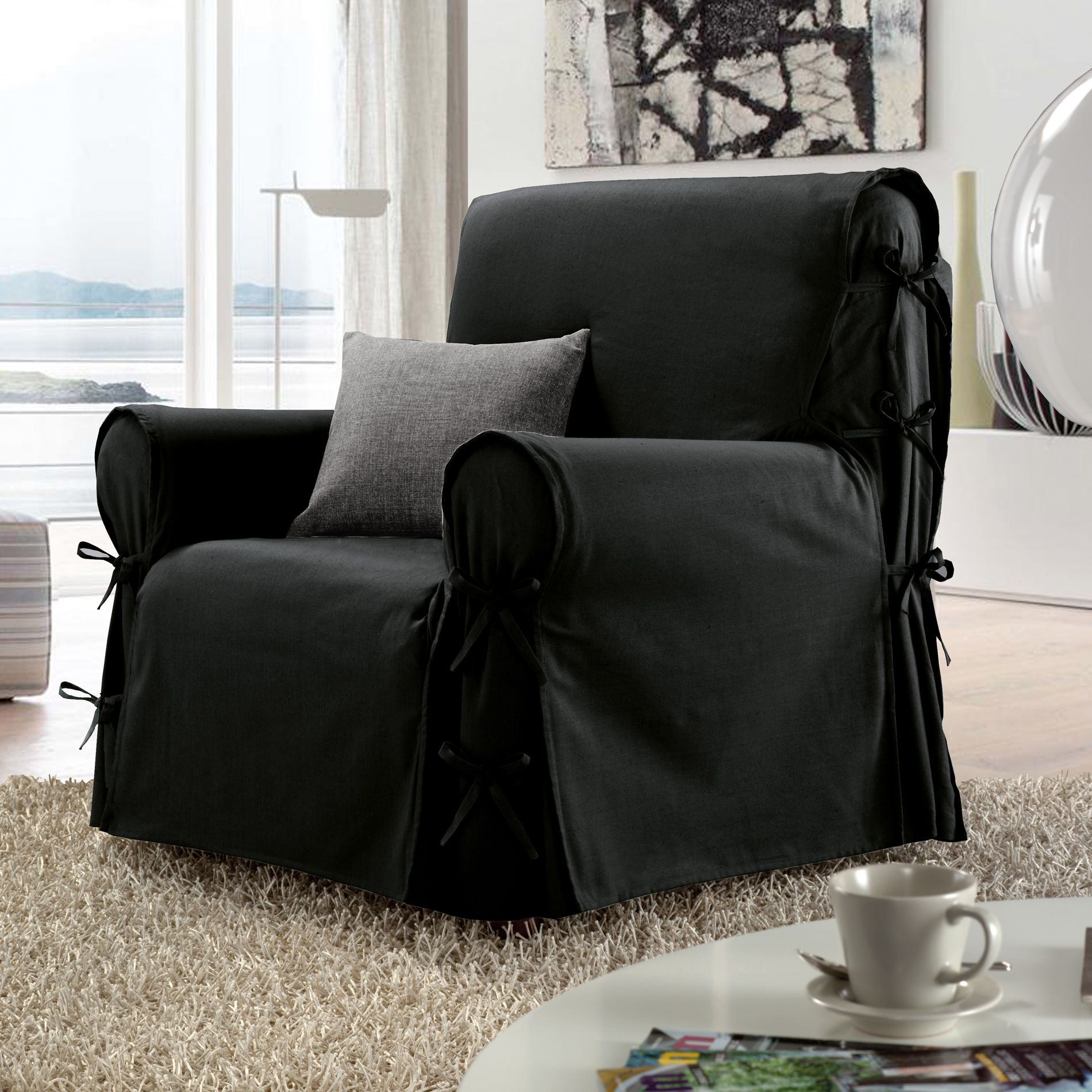 housse de fauteuil stella noir housse de fauteuil eminza. Black Bedroom Furniture Sets. Home Design Ideas