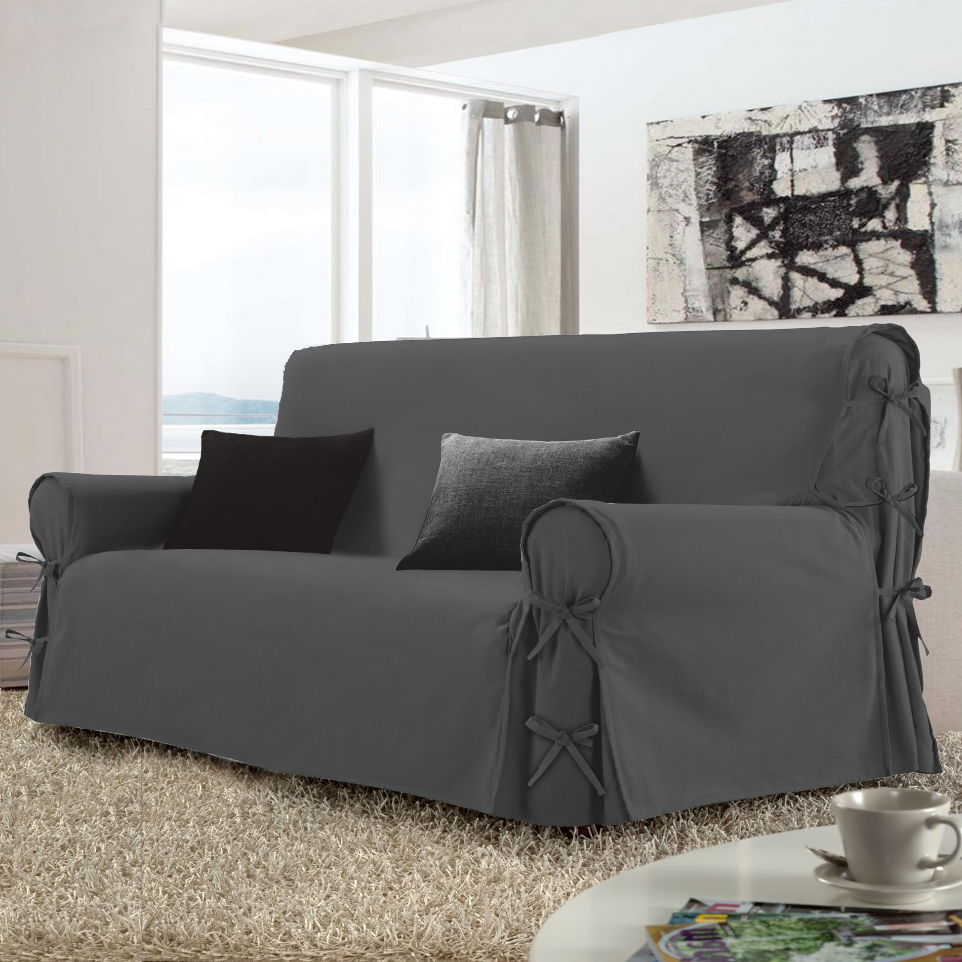 housse de canap 2 places stella gris anthracite housse de canap eminza. Black Bedroom Furniture Sets. Home Design Ideas