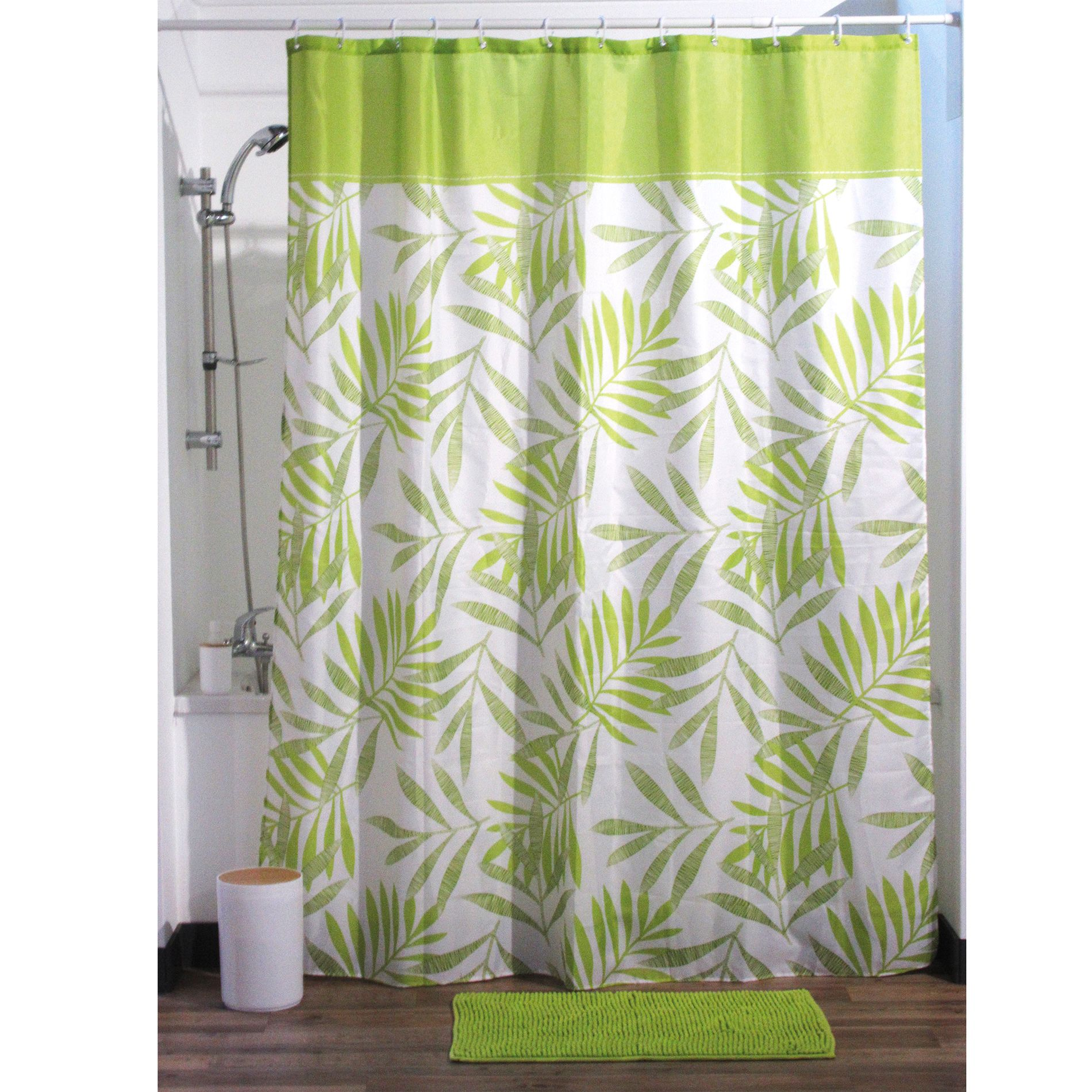 rideau de douche 200 cm exotic forest vert rideau de douche eminza. Black Bedroom Furniture Sets. Home Design Ideas