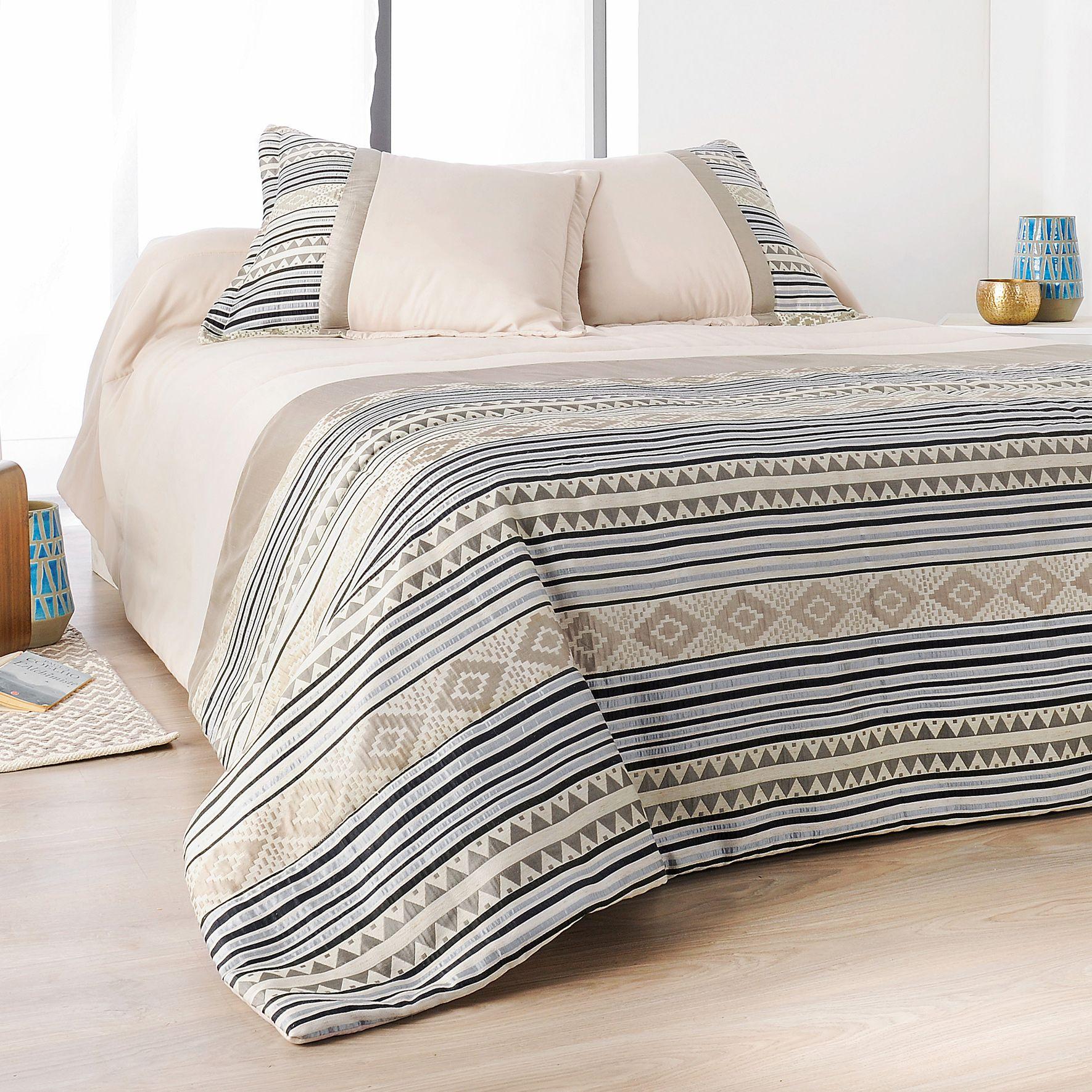 boutis et taies d 39 oreiller 250 x 260 cm inca beige couvre lit boutis eminza. Black Bedroom Furniture Sets. Home Design Ideas