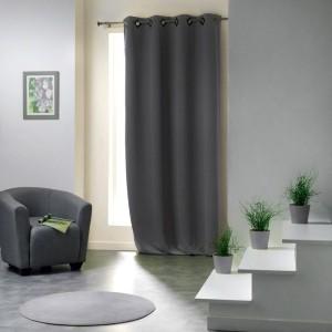 rideau occultant 140 x h250 cm metallia anthracite. Black Bedroom Furniture Sets. Home Design Ideas