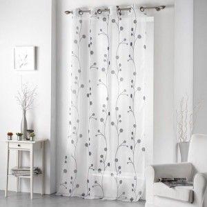 voilage 140 x h240 cm oxana gris voilage eminza. Black Bedroom Furniture Sets. Home Design Ideas
