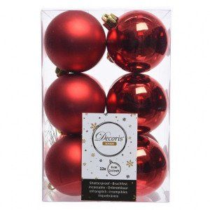 Lot de 12 boules de Noël (D60 mm) Alpine Rouge