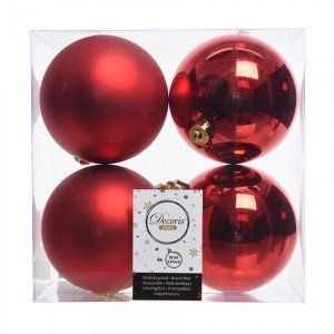 Lot de 4 boules de Noël (D100 mm) Alpine Rouge