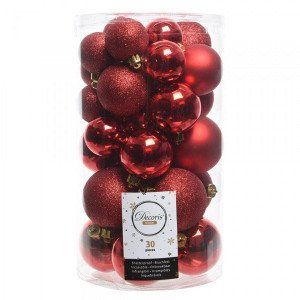 Lot de 30 boules de Noël assorties Alpine Rouge